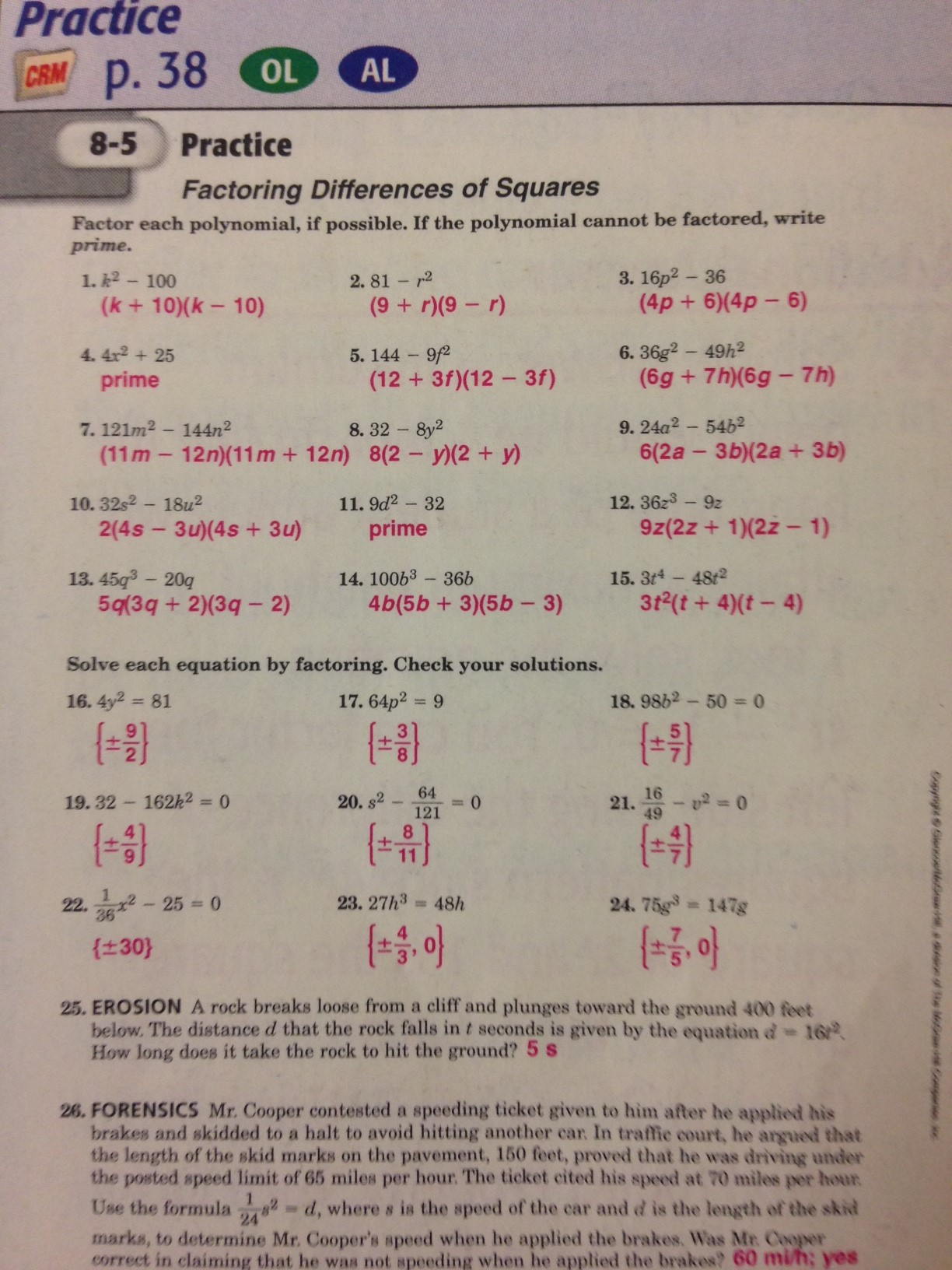 Workbook Answers Mr Grimes – Practice 5-4 Factoring Quadratic Expressions Worksheet Answers