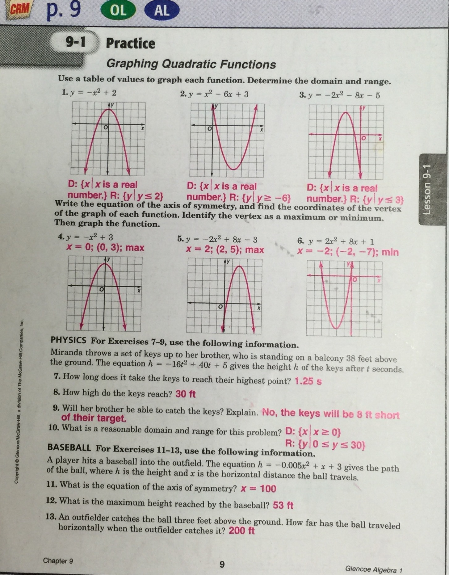 Glencoe algebra 2 workbook answers